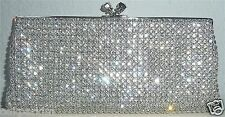 Crystal Beaded Modern Evening Clutch Handbag Purse - Silver - New!