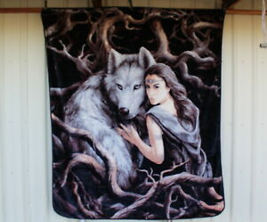 ANNE STOKES WOLF LADY SOUL BOND GOTHIC FANTASY QUEEN SIZE BLANKET