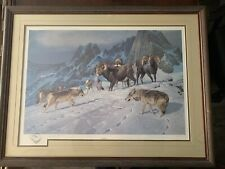 Rare Hayden Lambson Signed A/P Remarque Edition Ram & Snow Wolf Print 25/25