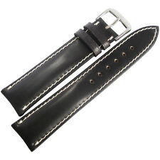 18mm Rios New York Black Padded Shell Cordovan Leather German Watch Band Strap