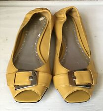 Women's BCB Girls Bg-Piper Leather Yellow Peep Toe Flats Size 7M