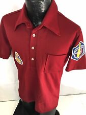 Vtg 60 70's Men EMBROIDERED Maroon ROCKABILLY Polo Bowling Club Shirt Patches L