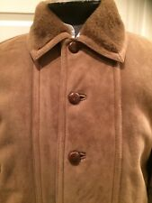 Vtg Valentino Pelle shearling leather Ranch Barn  coat Italy Suede Sz 50 Brown