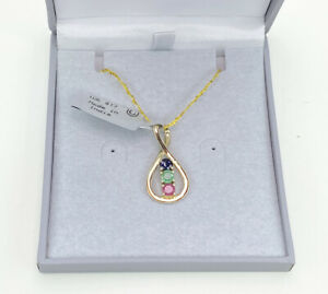 10k Gold Ruby, Sapphire & Emerald Gemstone Pendant, Gems Tv, With Cert