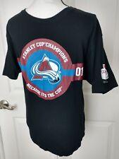 COLORADO AVALANCHE 2001 Stanley Cup Champions Shirt Large Molson Black NHL Roy M