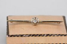 Antique Solid Yellow and White Gold Old Cut Diamond Brooch/Pin with Vintage Box
