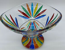 Signed ZECCHIN Style Murano ITALY Art Glass Dish Bowl Rainbow Colors RARE