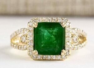 2.99 Carat Natural Emerald 14K Solid Yellow Gold Luxury Diamond Ring