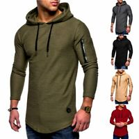 Men's Slim Fit Long Sleeve Muscle Tee Shirts Casual T-shirt Tops Hooded Blouse