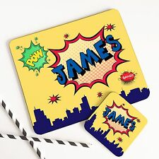 Personalised Wooden Glossy Comic Strip Cartoon Placemat & Coaster Set for Kids