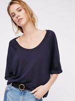 NWT FREE PEOPLE SzXS MOONLIGHT BOAT NECK 3/4 SLEEVE TEE TOP MIDNIGHT BLUE $58