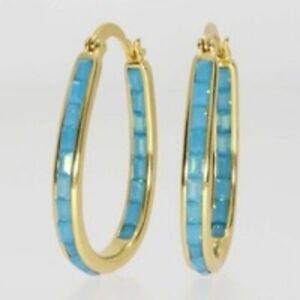 Elegant 925 Silver Hoop Earrings Women White Sapphire Jewelry Gift A Pair