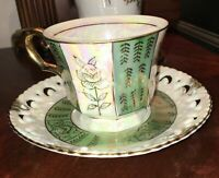 Antique Tea Cup Floral Hand Painted Porcelain Gold Gilt Lusterware