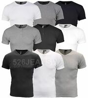 Soulstar Mens Designer Branded Slim Fit Ribbed Crew & Grandad Neck T-Shirt, BNWT