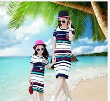 MOTHER DAUGHTER STRIPE DRESS JLH) - BLUE GREEN STRIPES (KIDS DRESS)