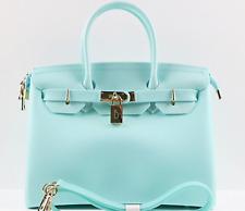 Matte Tiffany Blue & Gold Waterproof Beach Bag BLK Vegan Bag Purse Handbag Tote