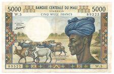 Mali Africa Banknote 5000 Francs 1972 1984 P14d gVF High Grade Cotton harvest