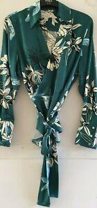 UK10 M&S Autograph Green Mix Floral Print Wrap Shirt/Blouse RRP £39.50