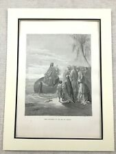 Antique Jesus Picture Victorian Engraving Print Christ Preaching Sea of Galilee