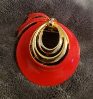 Vintage brooch Red goldtone enameled enamel