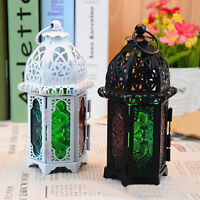 Metal Vintage Style Moroccan Candle Holder Tea Light Lamp Stained Glass Decor