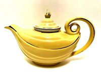 Vintage HALL Aladdin Teapot Canary Yellow with Infuser & Lid Gold Trim Tea Pot