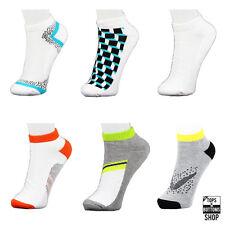 6 Pairs James Fiallo Men's White w/ Pattern Sports Peds Low-Cut Socks Size 10-13