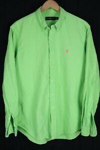 Ralph Lauren Mens sz XL Neon Green Oxford Long Sleeve Shirt Pink Pony
