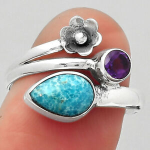 Persian Turquoise and Amethyst 925 Sterling Silver Ring s.8 Jewelry 1995
