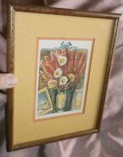 """Aquarelle signée A.F. ROUX - Nature morte """" bouquet de fleurs """" - cadre & verre"""