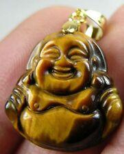#3 Tiger Eye Tigereye Hand Carved Smiling Happy Buddha Pendant 22.90ct or 4.55g