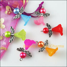 6 New Charms Mixed Glass Dancing Angel Wings Flowers Pendants 22x29mm