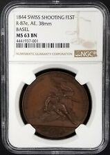1844 Swiss Shooting Fest Medal, R-87e, AE, 38mm, Basel, MS 63 BN by NGC!