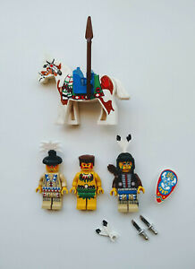 Vintage LEGO 3 Tribal Minifigs & 1 Horse w/ Saddle, Spears,Quiver,Knives,Shield