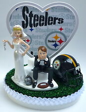 Wedding Cake Topper Pittsburgh Steelers Themed Football Ball & Chain w/ Garter