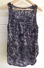 Bardot Women's Purple Black & White Print Singlet Top with Pocket - Size 10
