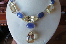 Huge Estate 217.95ct Tanzanite kunzite & Diamond 14k yellow gold necklace choker