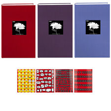 3 Colors Pioneer Fabric Albums -Red, Wildberry Purple, Sky Blue + Stickers