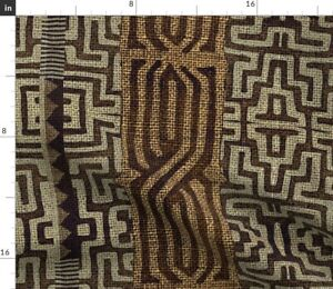 Brown Geometric Stripes Traditional Africa Spoonflower Fabric by the Yard