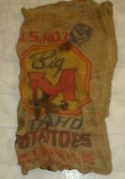 Vintage Big M Brand Idaho Potatoes Advertising Burlap Feed Sack / Bag (A13)