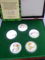 *Selten! Paradiesvögel 5 x ca.50 gr.Silber(925)mit Farbenopplic..
