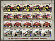 EL SALVADOR 2008 125th Anniv FIREMEN FIRE ENGINES Strip 4 COMPLETE SHEET MNH