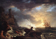 """Art Oil painting Being Rescue People shipwreck with broken ship waves canvas 36"""""""