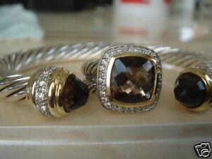 $1550 DAVID YURMAN 18K,SS DIAMOND SMOKY QUARTZ RING sz 5
