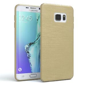 Schutz Hülle für Samsung Galaxy S6 Edge Plus Brushed Cover Handy Case Gold