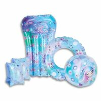 Mermaid or Shark Inflatable Swimming Pool Set Armbands Ring, Float & Beach Ball