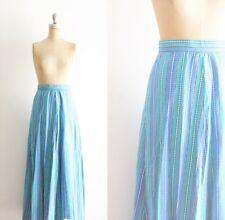 Vintage 1970s Blue Stripe Maxi Skirt 70s XS S Small Cotton Boho Festival Long