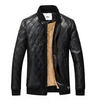 newfeeling mens pu jacket washed leather winter coat 2xl