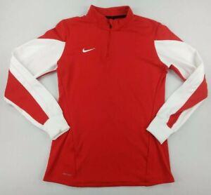 Nike Womens 1/4 Zip Long Sleeve Pullover Mock Neck Red White Size Medium