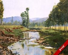 SPANISH COUNTRYSIDE & CREEK RIVER LANDSCAPE SPAIN PAINTING ART REAL CANVAS PRINT